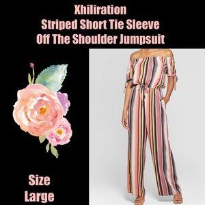 Xhiliration Striped Off The Shoulder Jumpsuit